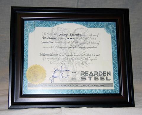 rearden steel stock certificate