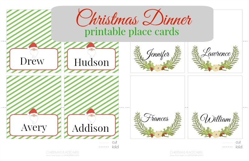 Holiday Place Card Template  Dinner Card Template