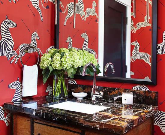 scalamandre zebras wallpaper masai red bathroom interior decor
