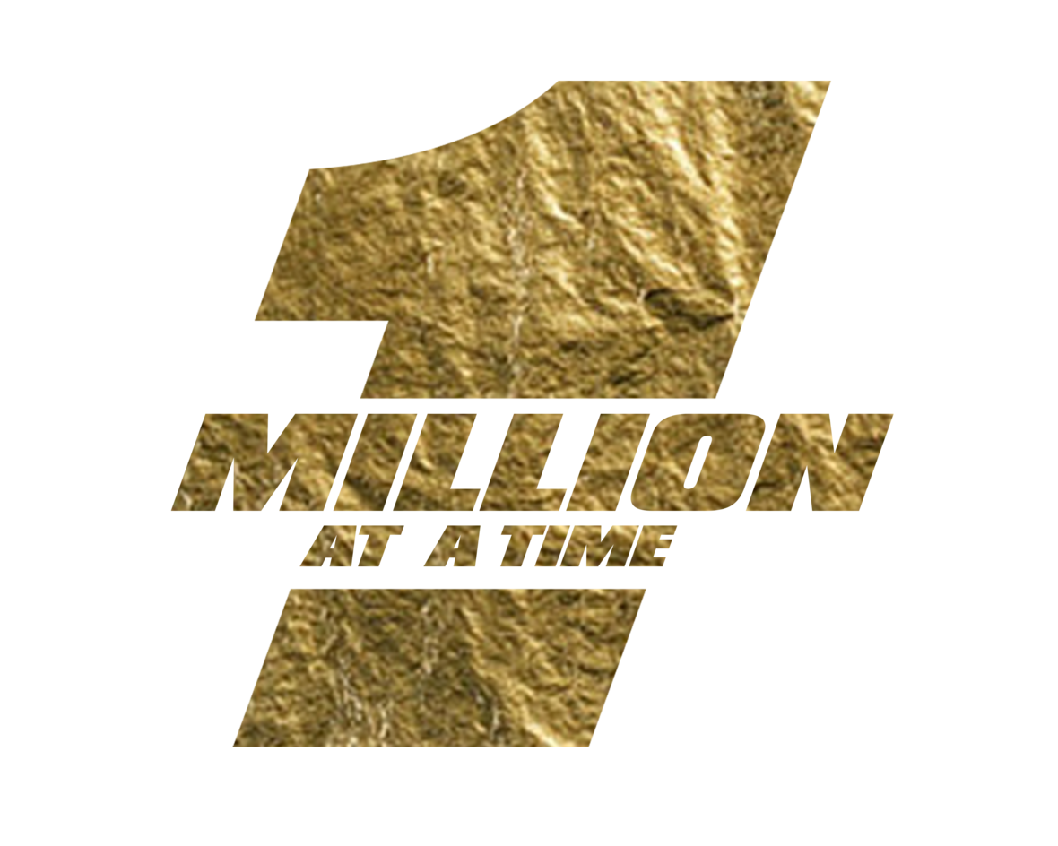 ONE MILLION AT A TIME logo with number 1 - gold on white