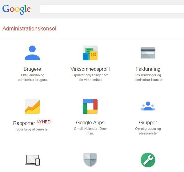 administrationskonsol Google