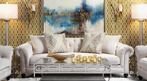 metallic gold trellis wallpaper interior decor living room