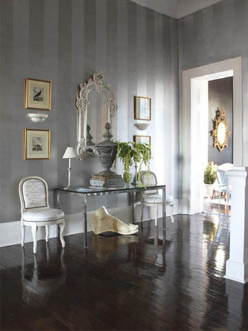 metallic silver stripe wallpaper interior decor