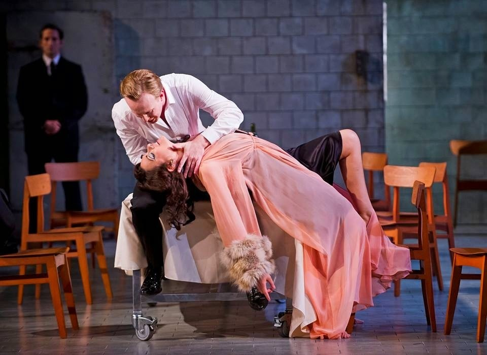James Laing as Nerone and Sandra Piques Eddy as Poppea in Opera North's production of Monteverdi's The Coronation of Poppea; photo credit: Tristram Kenton.