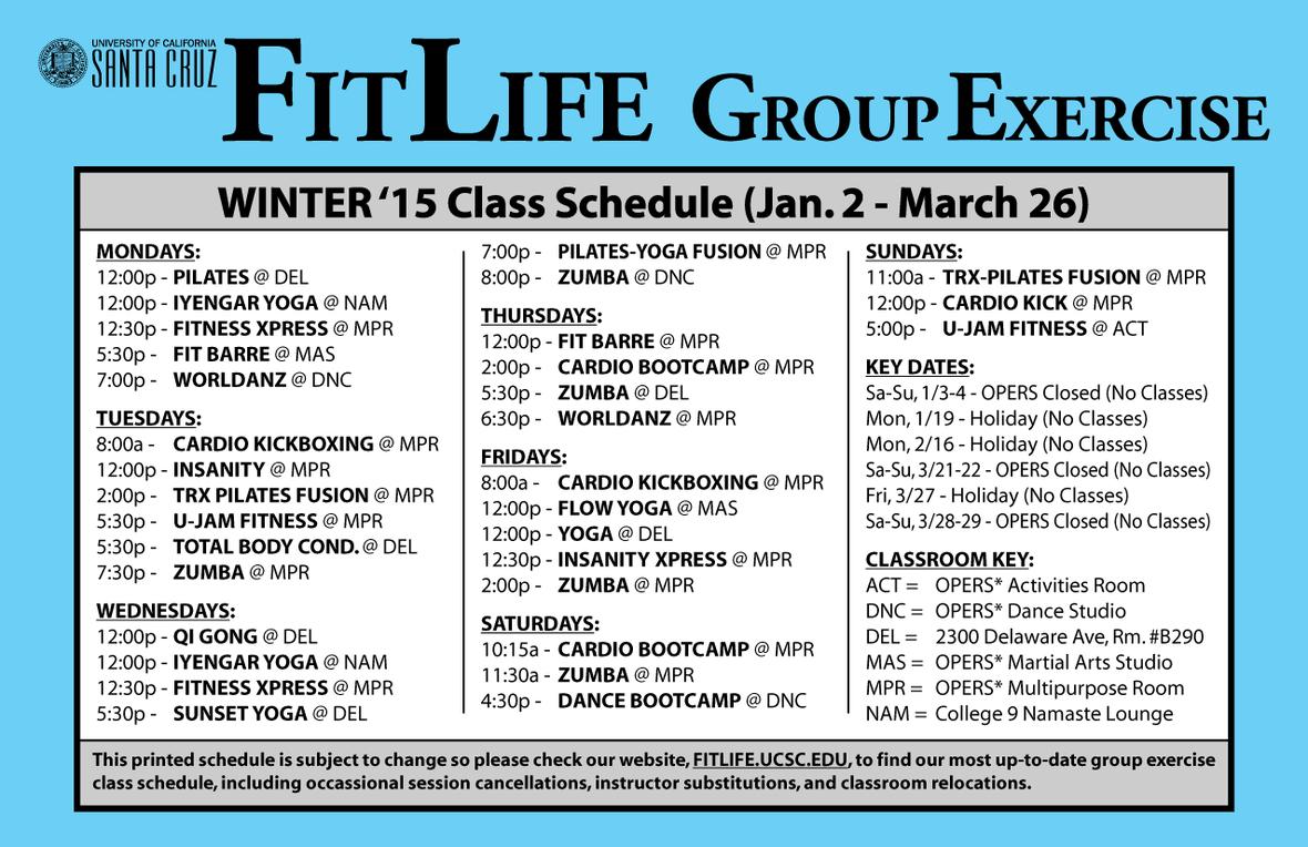 schedule weekly winter