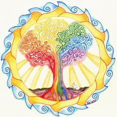 Rainbow tree mandala