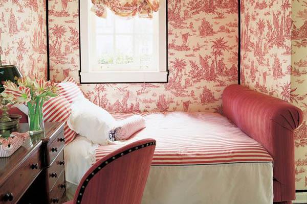 Marsala Red Toile Wallpaper Bedroom Interior Decor