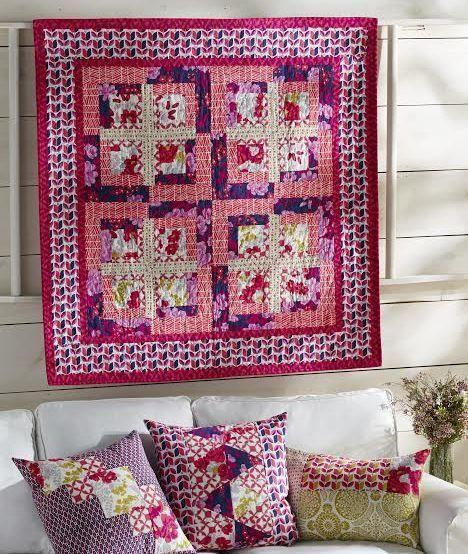 lucy fazely flaming flora quilt kit sewing pattern