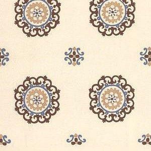 Schumacher Konya Suzani Mocha  Dusk Fabric