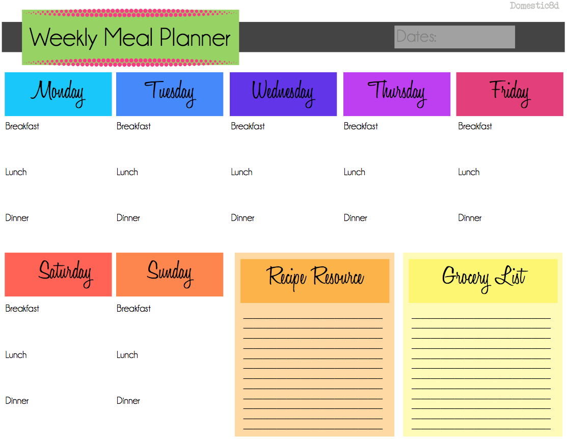 Why Plan your Meals ex planner pic Carne Guisada Crock Pot – Meal Calendar