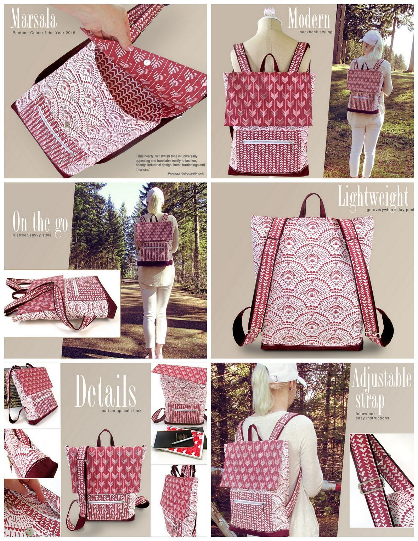Sew 4 Home Marsala Fabric Backpack