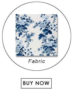 Schumacher Pyne Hollyhock Print Indigo Fabric