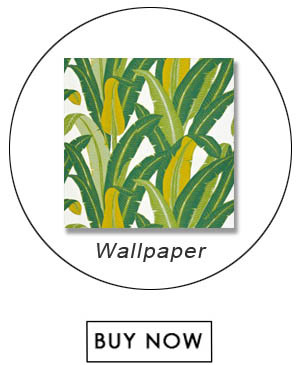 Schumacher Tropical Isle Green on White Wallpaper