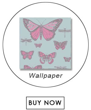 Cole   Son BUTTERFLIES   DRAGONFLIES PINK ON BLUE Wallpaper