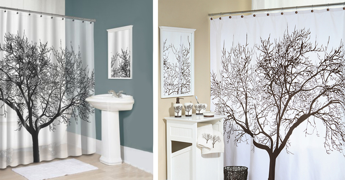 1200x627 Shower Curtain Tree Decor
