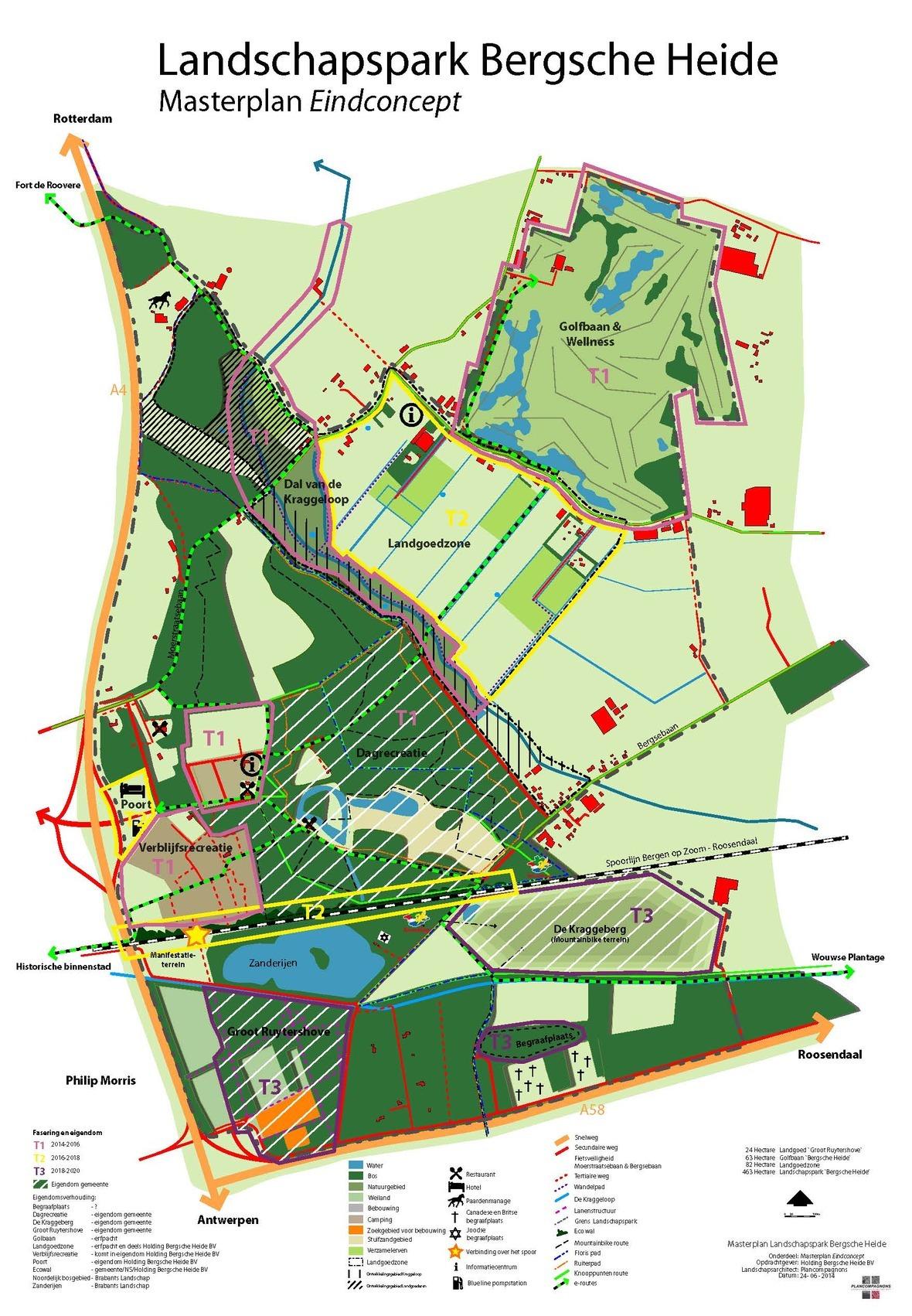 Kaart Masterplan Bergsche Heide Eindconcept fasering 2