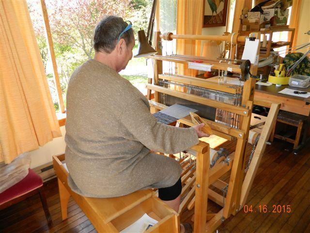Dona MacKie at the loom