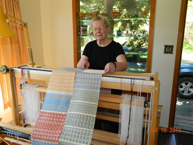Sandra Hodgins with a few of the samples created by participants