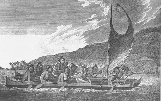 560px-Priests traveling across kealakekua bay for first contact rituals