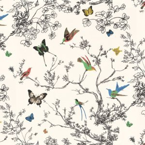 Schumacher-Birds-Butterflies-Multi-on-white-wallpaper