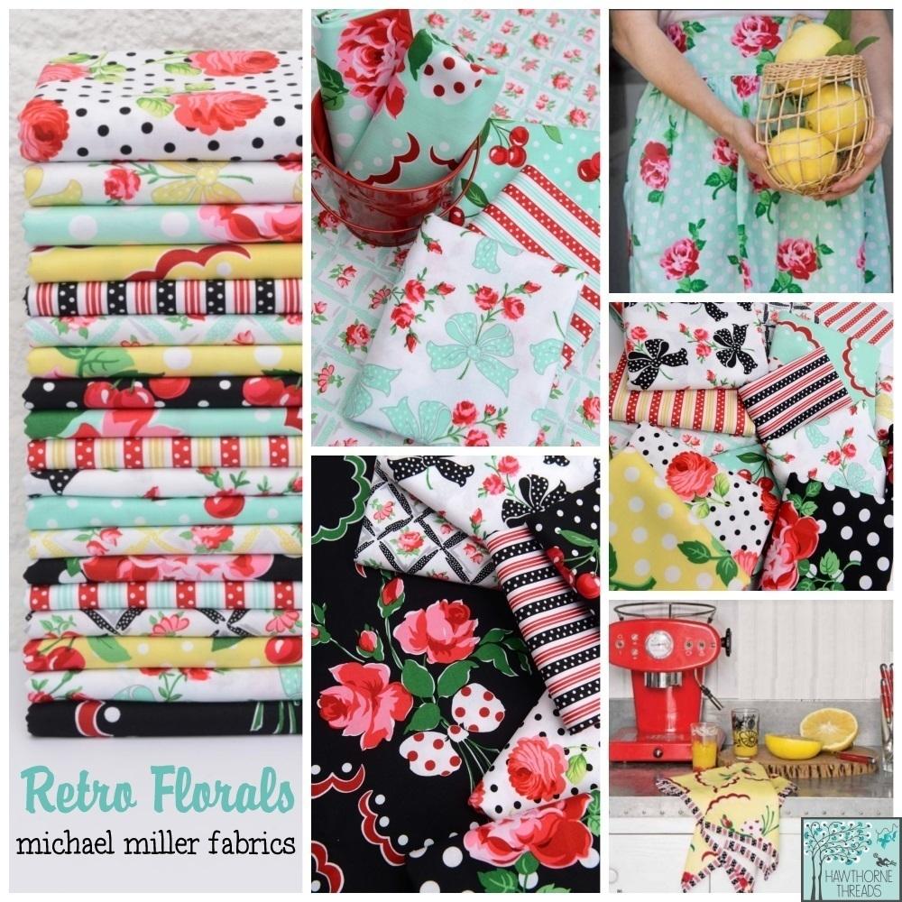 Retro Florals Fabric Poster