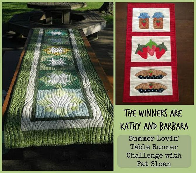 pat sloan summer lovin table runner challenge winners