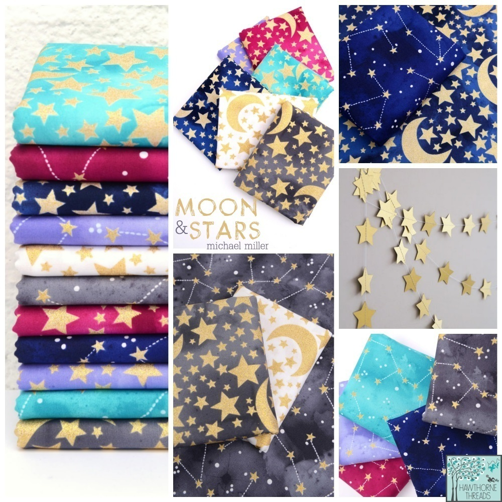 Moon and Stars Fabric Poster