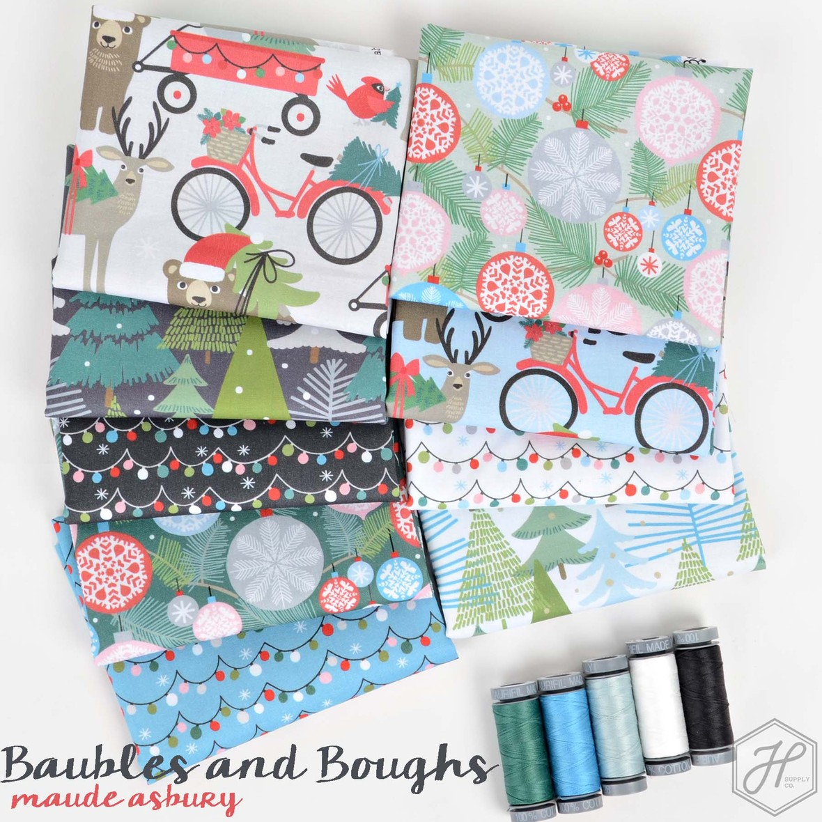 Baubles and Boughs Christmas Fabric Maude Asbury for Blend at Hawthorne Supply Co