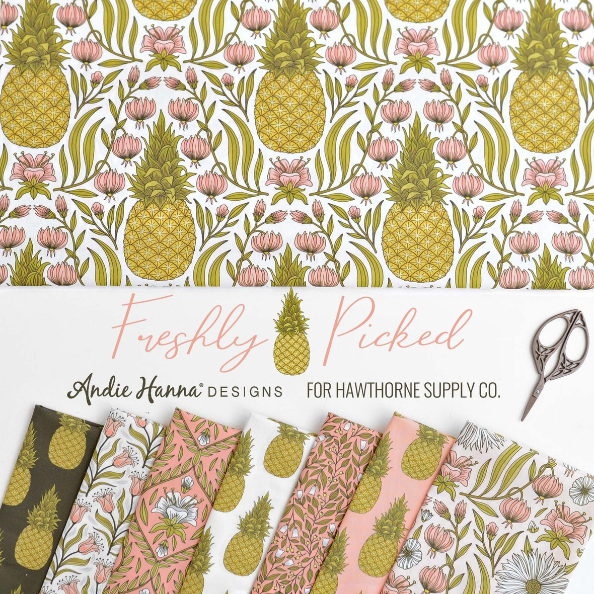 Freshly Picked Pineapple Fabric from Andie Hanna for Hawthorne Supply Co