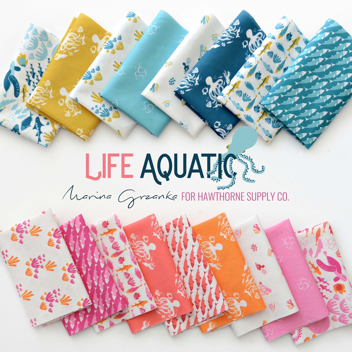 Life Aquatic Fabric Poster Marina Grzanka for Hawthorne Supply Co 1