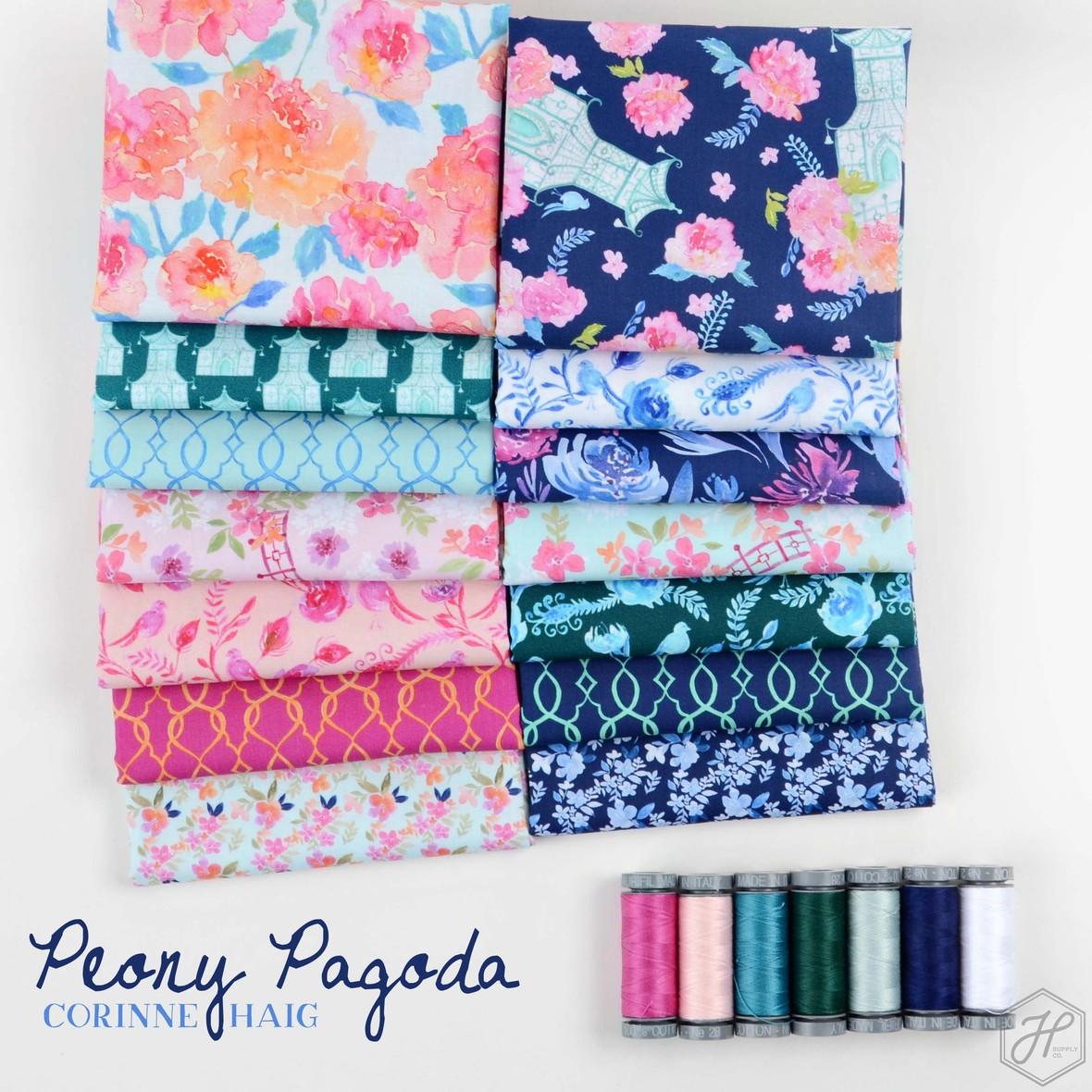 Peony Pagoda Fabric Poster