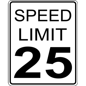CA speed limit 25 roadsign