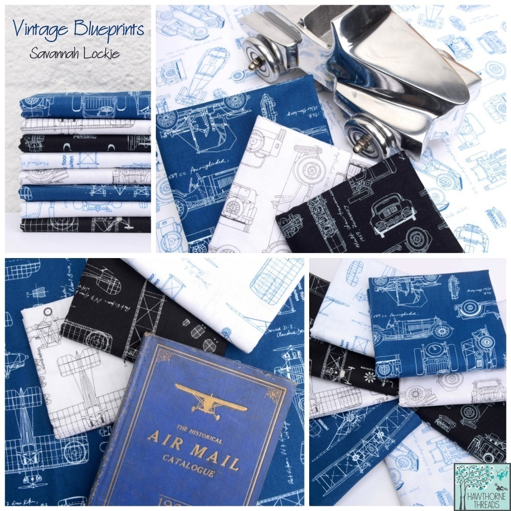Vintage Blueprints Fabric Poster 2