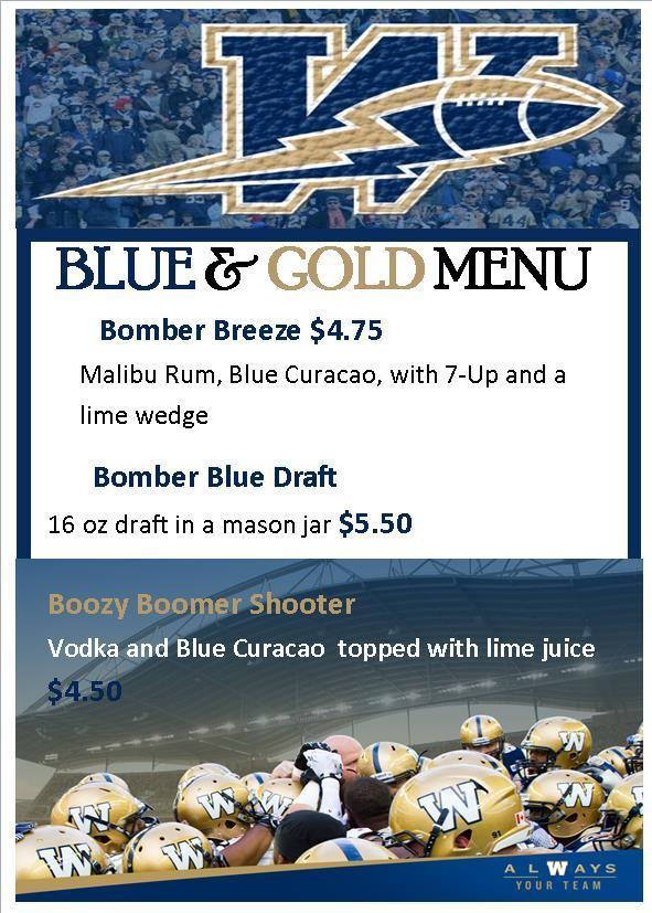 Blue and Gold Bar Menu