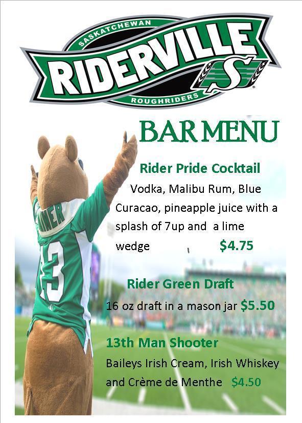 Riderville Bar Menu