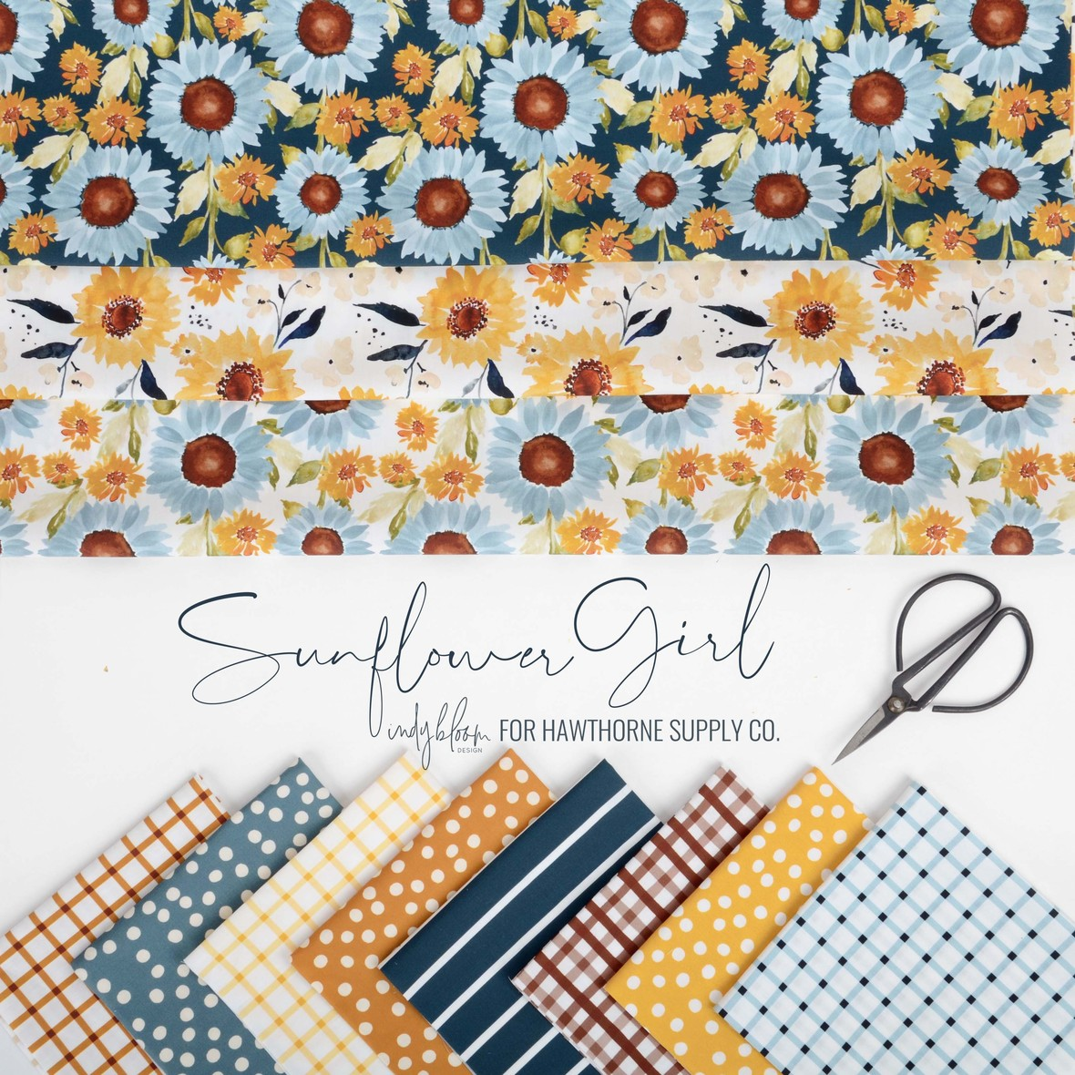 Sunflower Girl Fabric from Indy Bloom at Hawthorne Supply Co