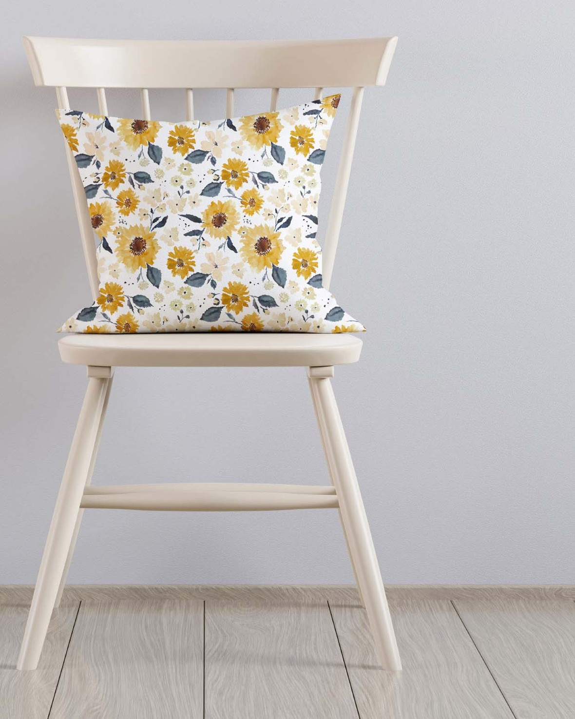 Pillow on Ivory Chair large sunflower girl