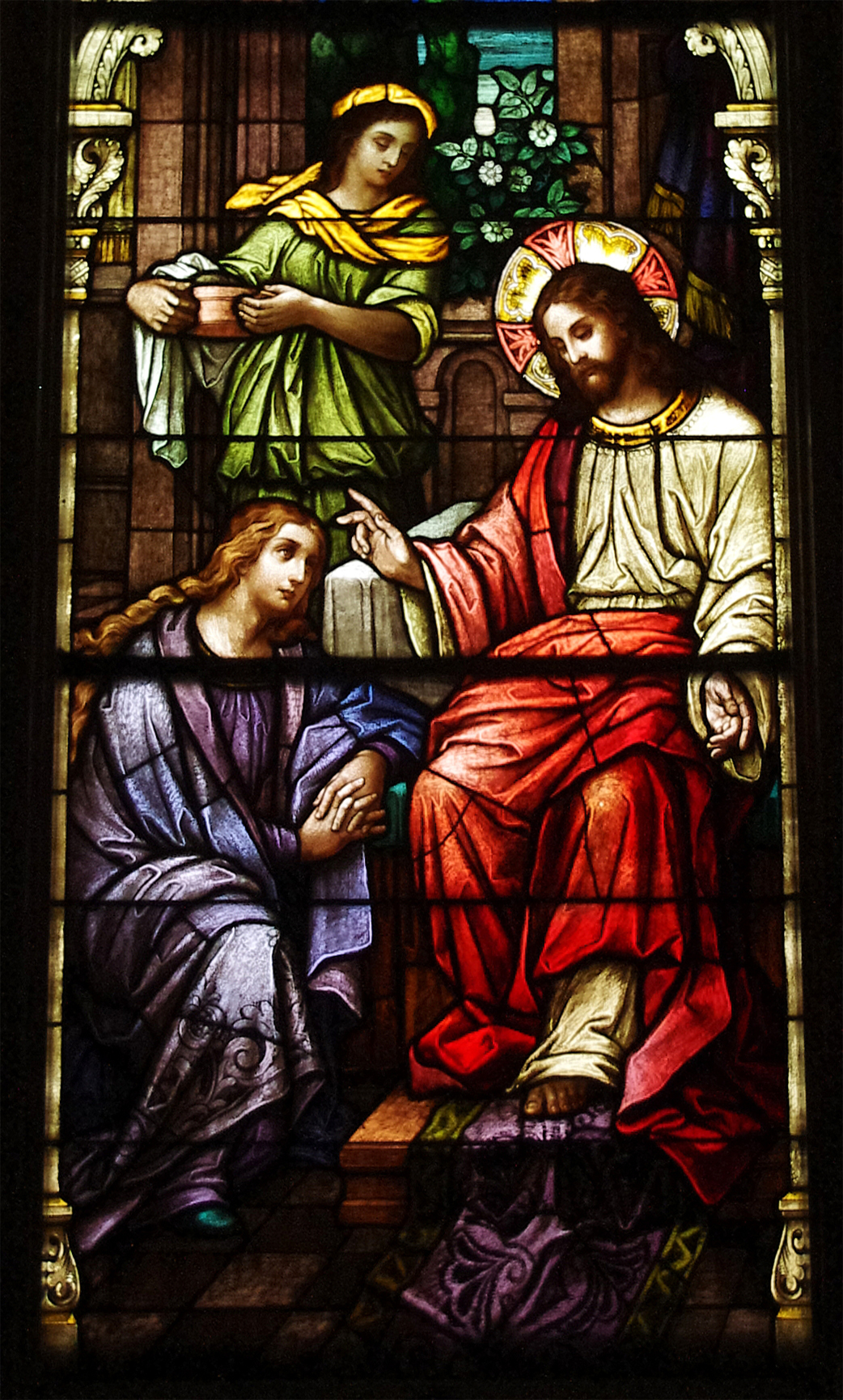 Saint Wendelin Church Saint Henry Ohio - stained glass nave Christ with Martha and Mary