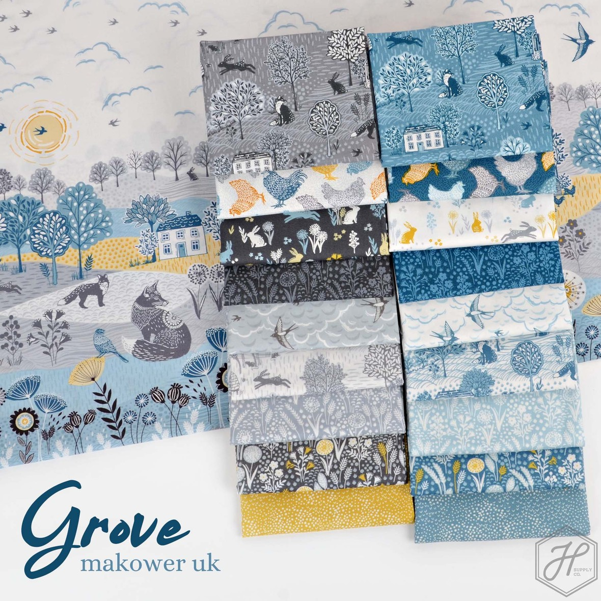 Grove Fabric Poster Makower UK and Andover at Hawthorne Supply Co