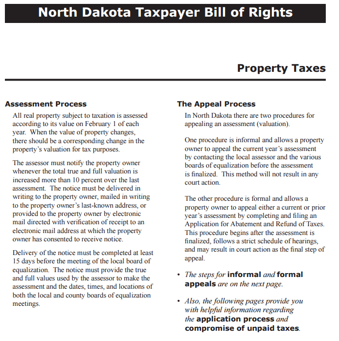 ND Taxpayer Bill of Rights for Property Taxes