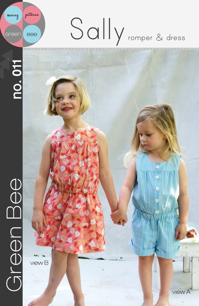 green bee design sally romper and dress sewing pattern