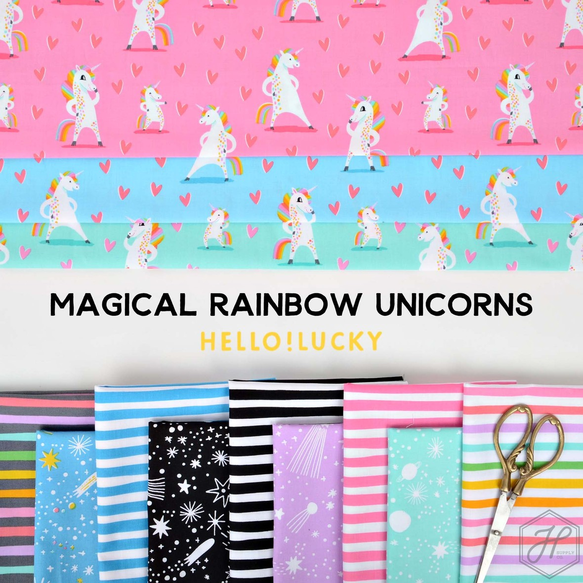 Magical Rainbow Unicorn Fabric