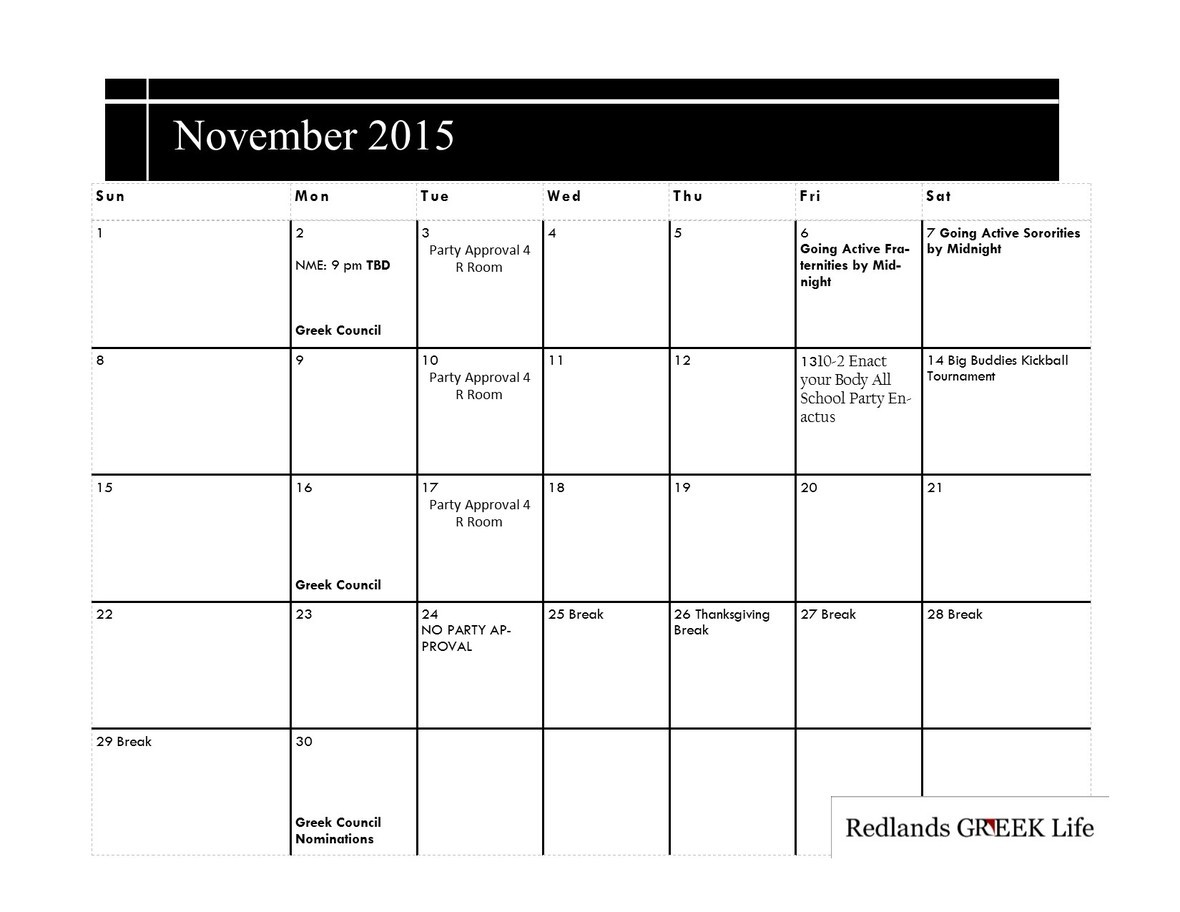 November 2015-2016 Greek Calendar