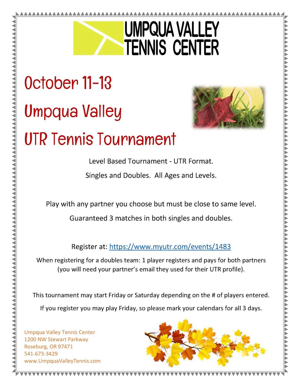UTR tournament flyer oct 2019