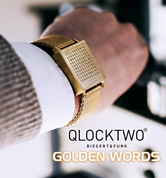 biegert funk qlocktwo w golden words watch. Black Bedroom Furniture Sets. Home Design Ideas