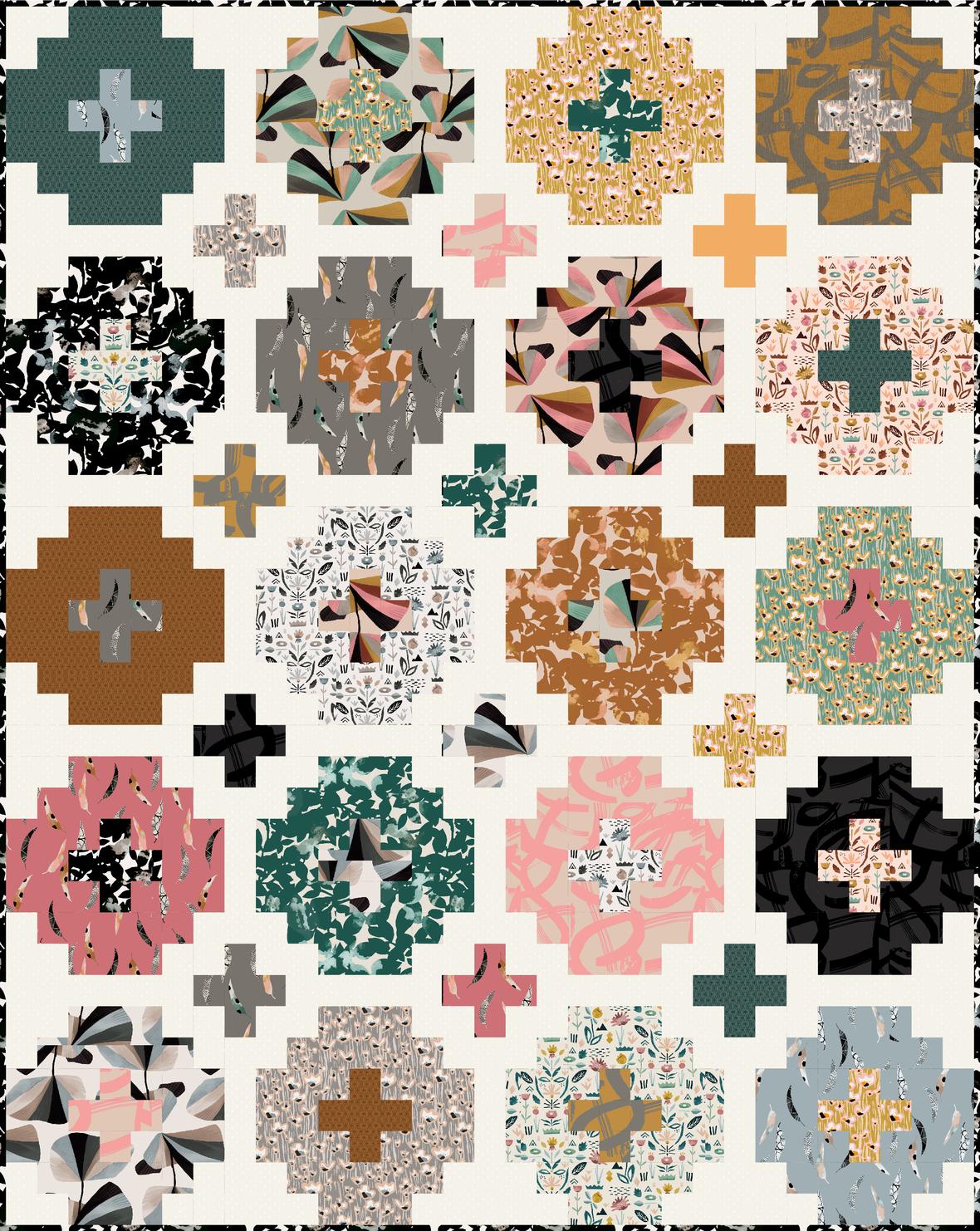 1 Cross tile QuiltyLove 62x78 InBloom-01