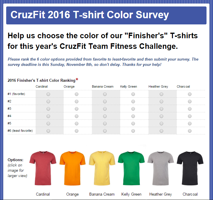 cruzfit tshirt survey