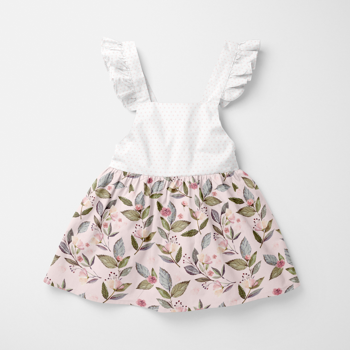 baby dress pink flowers and dots big scales