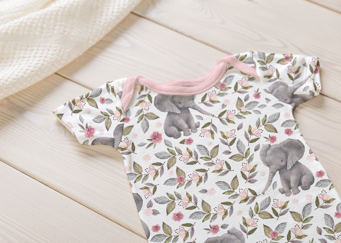 Onesie big baby elephant white