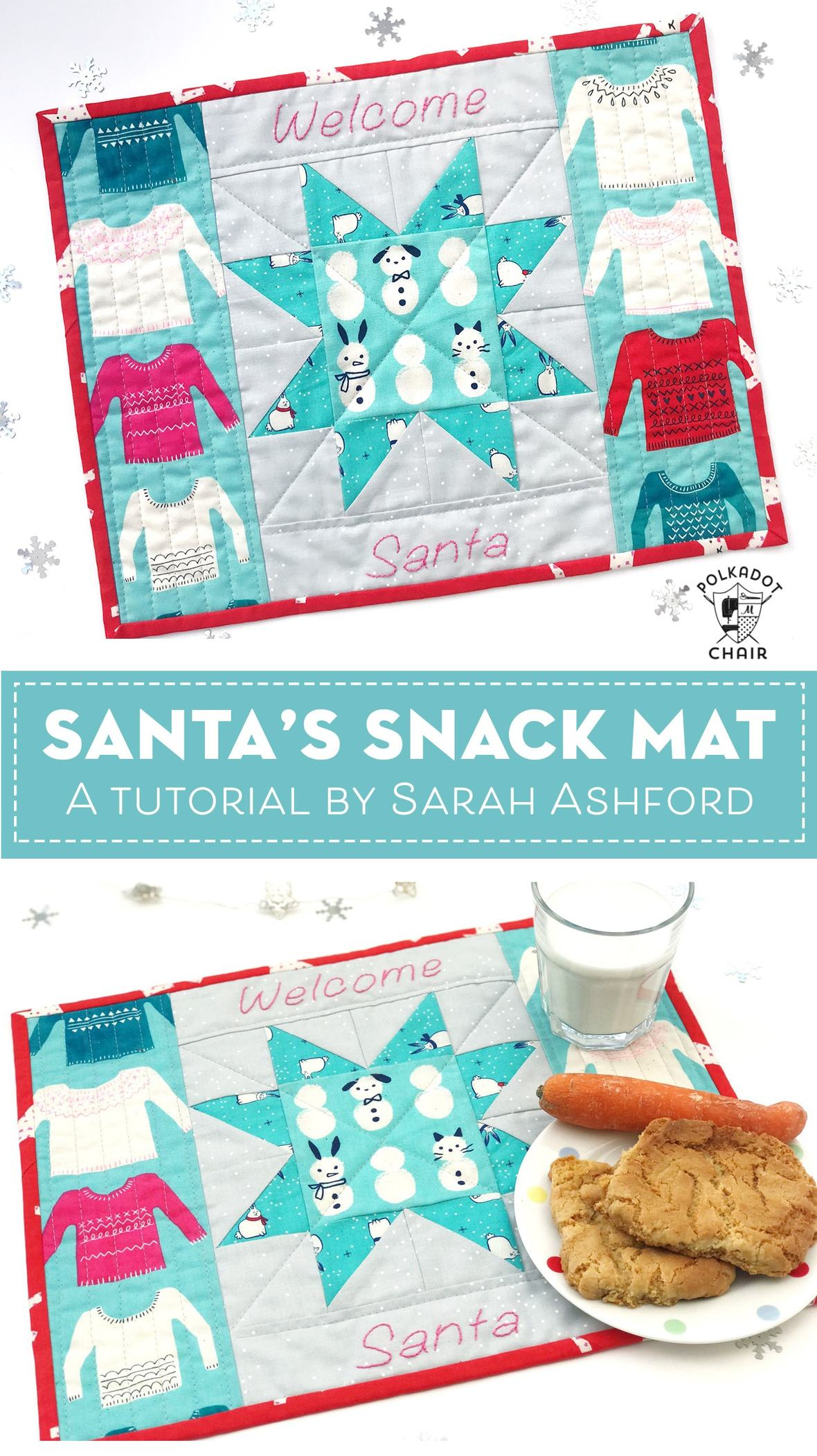 polkadot chair- free sewing tutorial-santas-snack-mat-